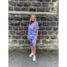Lucy Cobb Tie Dye Shorts Set in Denim Blue
