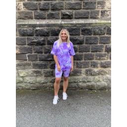Lucy Cobb Tie Dye Shorts Set in Purple