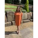 Sky Button Dress - Orange