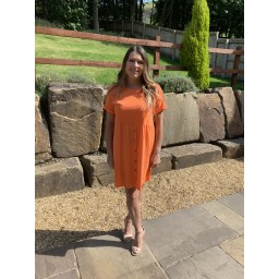 Lucy Cobb Sky Button Dress in Orange