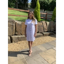 Lucy Cobb Sky Button Dress in White