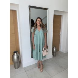 Lucy Cobb Sallie Midi Smock Dress in Soft Green