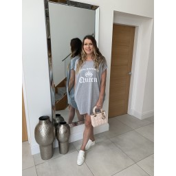 Lucy Cobb Curve Social Distance Queen Oversized Tee - Marl Grey