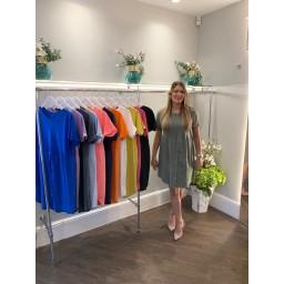 Lucy Cobb Sky Button Dress in Khaki