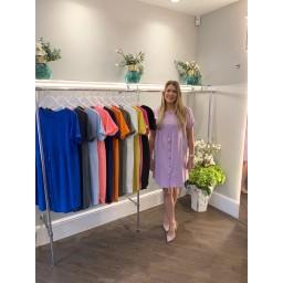 Lucy Cobb Sky Button Dress - Lilac