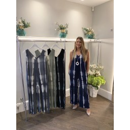 Lucy Cobb Tie Dye Wide Leg Jumpsuit in Navy