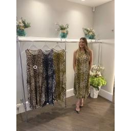 Lucy Cobb Leopard Print Tara Sleeveless Dress in Mustard