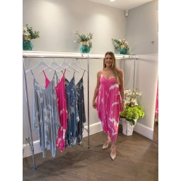Lucy Cobb Tania Tie Dye Jumpsuit in Fuchsia
