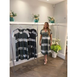 Lucy Cobb Tania Tye Dye Midi Dress  in Khaki