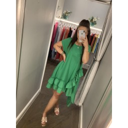 Lucy Cobb Elle Frill Dress in Green