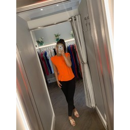Lucy Cobb Pip Padded Shoulder Tee in Orange