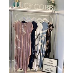 Lucy Cobb Tara Splash Cap Sleeve Dress in Denim Blue