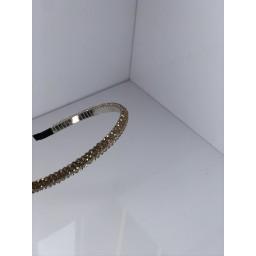 Malissa J Crystal Thin Headband  in Champagne