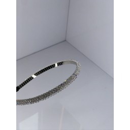 Malissa J Crystal Thin Headband  in White