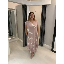 Lucy Cobb Tara Splash Cap Sleeve Dress in Dusky Pink