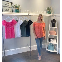 Lucy Cobb Luna Lace Bardot Top in Coral