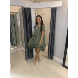 Lucy Cobb Elle Frill Dress - Khaki