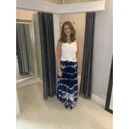 Lucy Cobb Tie Dye Palazzo Trousers in Navy