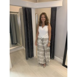 Lucy Cobb Tie Dye Palazzo Trousers in Stone