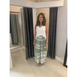 Lucy Cobb Tie Dye Palazzo Trousers in Khaki
