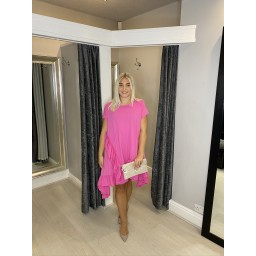 Lucy Cobb Elle Frill Dress in Fuchsia