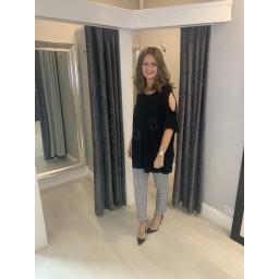 Lucy Cobb Curve Star Cold Shoulder Top - Black