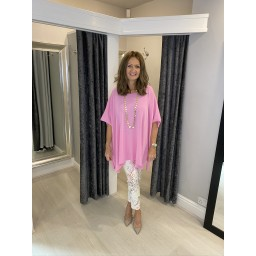 Lucy Cobb Curve Millie Lightweight Oversized Top in Pink (431)