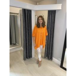 Lucy Cobb Curve Millie Lightweight Oversized Top - Orange