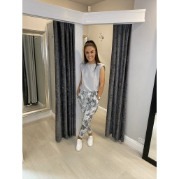 Lucy Cobb Large Camo Print Magic Trousers in Dark Grey