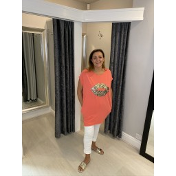 Lucy Cobb Curve Leopard Lips Oversized Tee - Coral