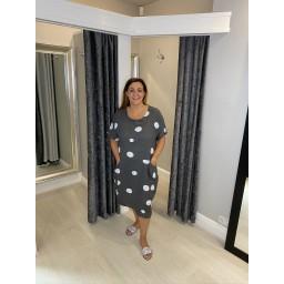 Lucy Cobb Linen Spot Dress - Slate
