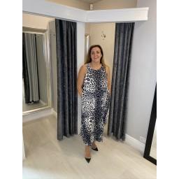 Lucy Cobb Leopard Print Tara Sleeveless Dress - Charcoal
