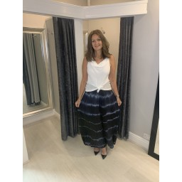 Lucy Cobb Tie Dye Palazzo Trousers in Black