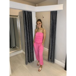 Lucy Cobb Brooke Bandeau Jumpsuit in Bubblegum Pink