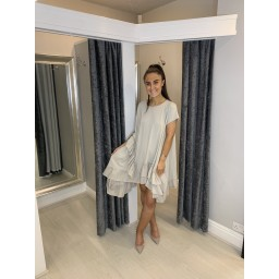 Lucy Cobb Elle Frill Dress in Stone