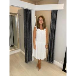 Lucy Cobb Francesca Frill Dress - White