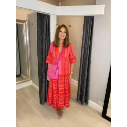 Lucy Cobb Carmen Maxi dress -  Fuchsia Pink Mix