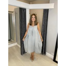 Lucy Cobb Curve Perle Parachute Linen Dress - Silver Grey