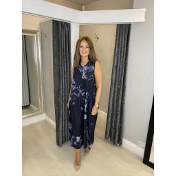 Lucy Cobb Wren Tie Dye Wide Leg Jumpsuit - Navy