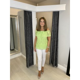 Lucy Cobb Luna Lace Bardot Top - Lime Green