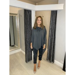 Lucy Cobb Cowl Neck Sweatshirt in Charcoal