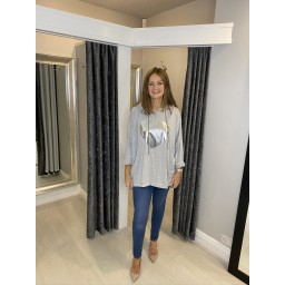 Lucy Cobb Silver Heart Oversized Hoodie in Silver Grey