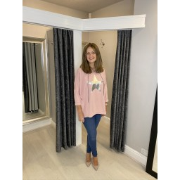 Lucy Cobb Silver Star Oversized  Hoodie in Baby Pink