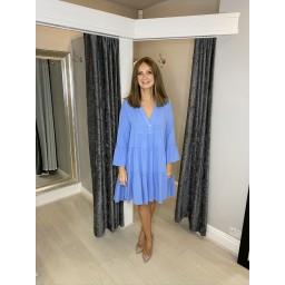 Lucy Cobb Kaye Cheesecloth Tiered Dress - Cornflower Blue