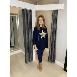 Lucy Cobb Silver Star Oversized  Hoodie in Navy