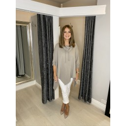 Lucy Cobb Cowl Neck Sweatshirt in Taupe