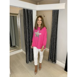 Lucy Cobb Silver Star Oversized  Hoodie in Fuchsia