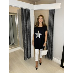 Lucy Cobb Oversized Silver Star Tee - Black