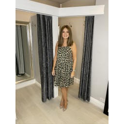 Lucy Cobb Leopard Talia Tie strap Dress - Khaki