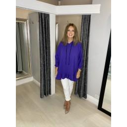 Lucy Cobb Curve Frill Hem Oversized Hoodie  - Purple